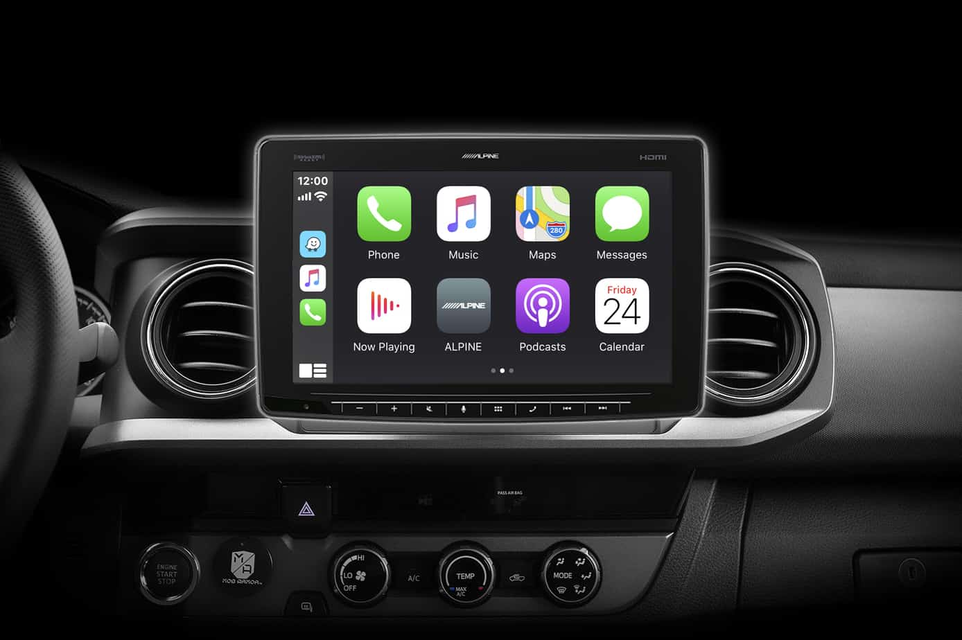 Alpine Halo11模型ILX-F411_APPLE Carplay_Tacoma